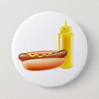 Badge Rond 7,6 Cm Hot dog avec le bouton de bouteille de moutarde