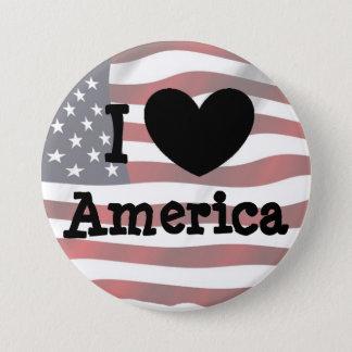 Badge Rond 7,6 Cm J'aime l'Amérique, bouton de drapeau américain
