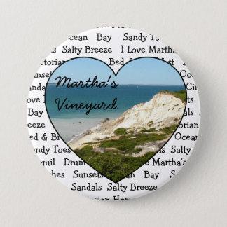 Badge Rond 7,6 Cm J'aime le bouton de coeur de Martha's Vineyard