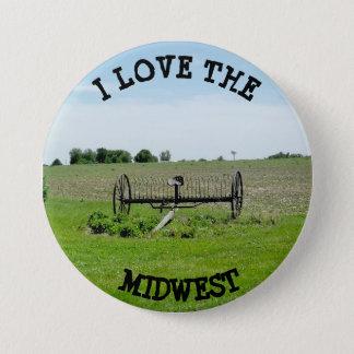 Badge Rond 7,6 Cm J'aime le Midwest cultivant le bouton de paysage