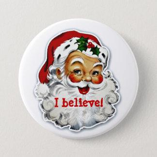 Badge Rond 7,6 Cm Je crois au bouton de Père Noël
