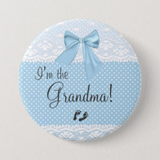 Badge Rond 7,6 Cm Je suis la dentelle de bleu de grand-maman