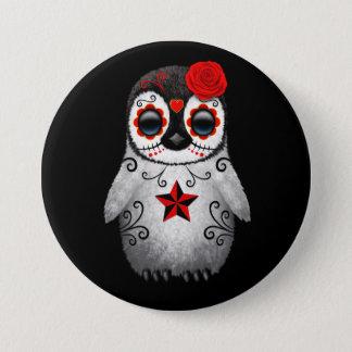 Badge Rond 7,6 Cm Jour rouge du noir mort de pingouin de crâne de