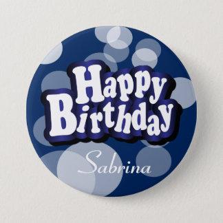 Badge Rond 7,6 Cm Joyeux anniversaire dans Bokeh bleu-foncé