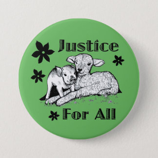 Badge Rond 7,6 Cm Justice pour tout le bouton de droits des animaux