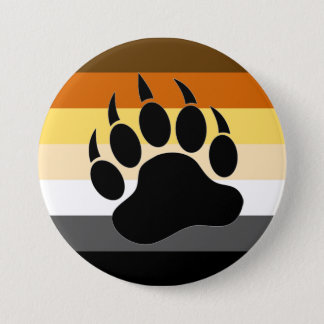Badge Rond 7,6 Cm La fierté d'ours colore la patte d'ours de rayures