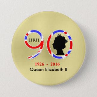 Badge Rond 7,6 Cm La Reine Elizabeth II du quatre-vingt-dixième
