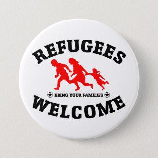 Badge Rond 7,6 Cm L'accueil de réfugiés amènent vos familles