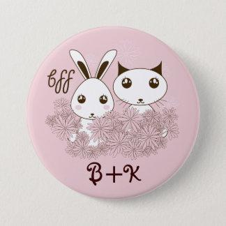 Badge Rond 7,6 Cm L'animal mignon d'amitié de fille badine le rose