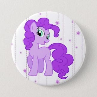 Badge Rond 7,6 Cm Le bouton pourpre de petite fille de poney