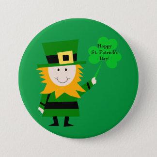 Badge Rond 7,6 Cm Lutin mignon avec le Pin du jour de St Patrick de