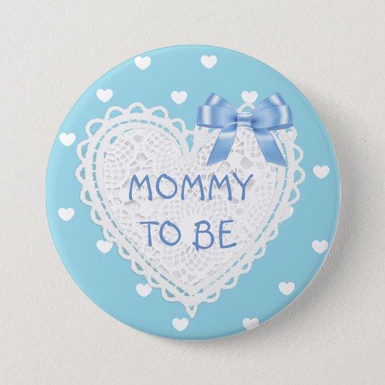 Badge Rond 7,6 Cm Maman à être bouton bleu de baby shower de coeurs