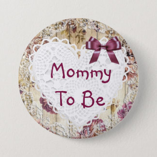 Badge Rond 7,6 Cm Maman à être bouton marron chic minable de baby