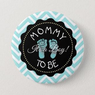 Badge Rond 7,6 Cm Maman à être bouton rayé turquoise de baby shower