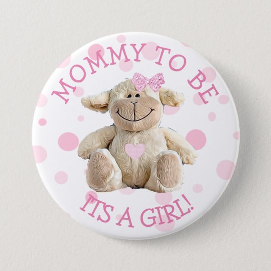 Badge Rond 7,6 Cm Maman à être bouton rose de baby shower d'agneau