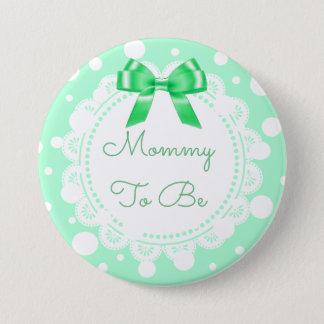 Badge Rond 7,6 Cm Maman à être parties scintillantes d'arc de vert