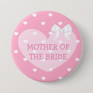 Badge Rond 7,6 Cm Mère du bouton blanc d'arc de coeurs de rose de