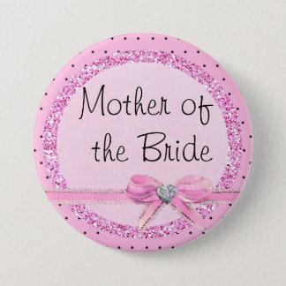 Badge Rond 7,6 Cm Mère du bouton rose et noir de jeune mariée de