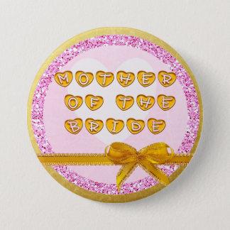 Badge Rond 7,6 Cm Mère du rose de jeune mariée et du bouton d'or