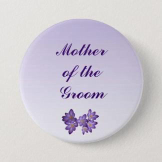 Badge Rond 7,6 Cm Mère florale de ressort pourpre du Pin de marié