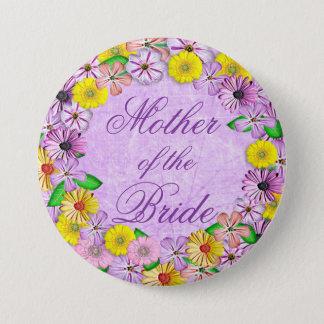 Badge Rond 7,6 Cm Mère florale pourpre et jaune du Pin de jeune