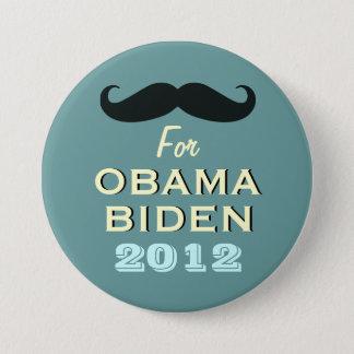 Badge Rond 7,6 Cm Moustache pour le bouton de campagne d'Obama Biden