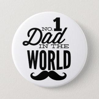 Badge Rond 7,6 Cm No. 1 papa dans le bouton de Pin de moustache du