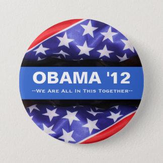 Badge Rond 7,6 Cm Obama 2012 tous en cela font campagne ensemble