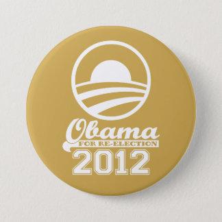 Badge Rond 7,6 Cm OBAMA pour le bouton 2012 (or) de campagne de