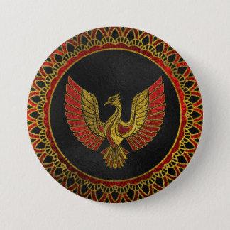 Badge Rond 7,6 Cm Or et symbole décoré rouge d'oiseau de Phoenix