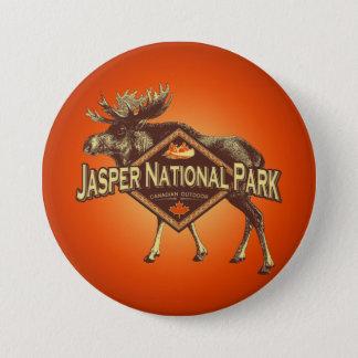 Badge Rond 7,6 Cm Orignaux de parc national de jaspe