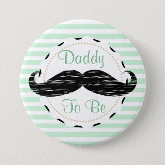 Badge Rond 7,6 Cm Papa noir de rayures de vert sauge à être baby