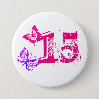 """Badge Rond 7,6 Cm Papillons pourpres et roses, """"15"""" bouton pour"""