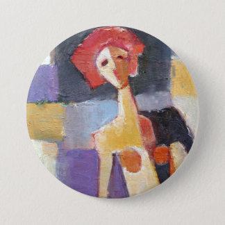 Badge Rond 7,6 Cm Peinture femelle de cheveux rouges