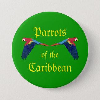 Badge Rond 7,6 Cm Perroquets des Caraïbe sur Greeen