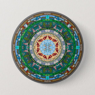 Badge Rond 7,6 Cm Pin de mandala d'état du Maine