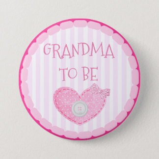 Badge Rond 7,6 Cm Points et grand-maman roses et blancs de bouton à