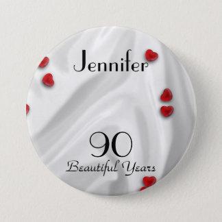 Badge Rond 7,6 Cm quatre-vingt-dixième Bouton d'anniversaire/Pin,