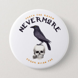 Badge Rond 7,6 Cm Quoth Raven plus jamais - Edgar Allan Poe