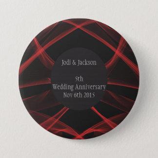 Badge Rond 7,6 Cm Remous rouges