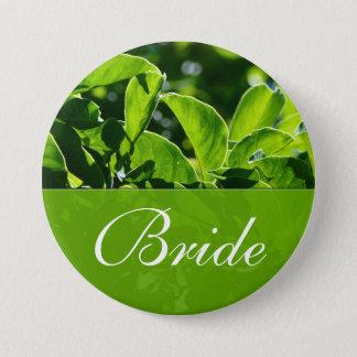 Badge Rond 7,6 Cm Ressort, mariage vert de jeune mariée de feuille