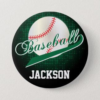 Badge Rond 7,6 Cm Rétro style vert-foncé de base-ball