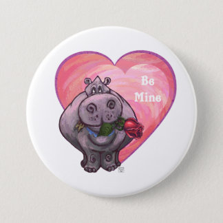 Badge Rond 7,6 Cm Saint-Valentin d'hippopotame