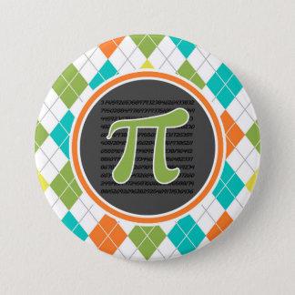 Badge Rond 7,6 Cm Symbole de pi ; Motif à motifs de losanges coloré