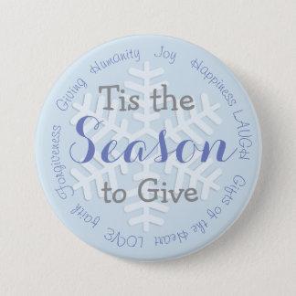 Badge Rond 7,6 Cm Tis le bouton inspiré de Noël bleu de saison