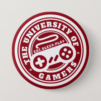 Badge Rond 7,6 Cm Université rouge de bouton de jeu de phoque de
