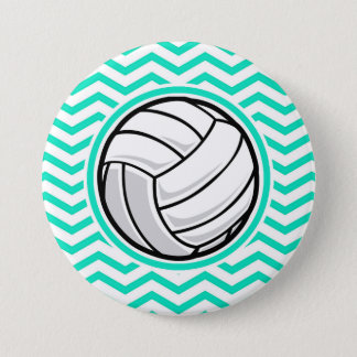 Badge Rond 7,6 Cm Volleyball ; Aqua Chevron vert
