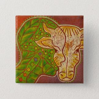 Badge vegan symbiosis animal human vegetal