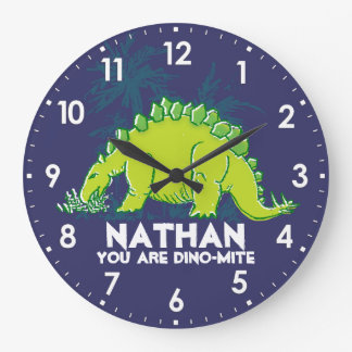 Badine l'horloge de nom de vert bleu de grande horloge ronde