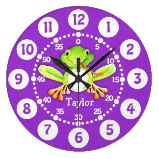 Badine l'horloge murale verte pourpre de grande horloge ronde